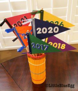 Pencil Vase Graduation Year Pennants