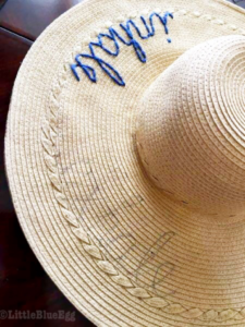 Stitching Script on Hat - Little Blue Egg