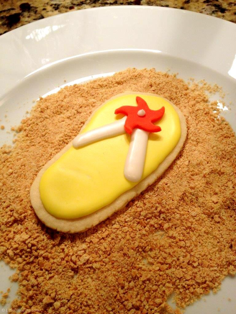 Flip Flop Cookies on Sand-LittleBlueEgg.com