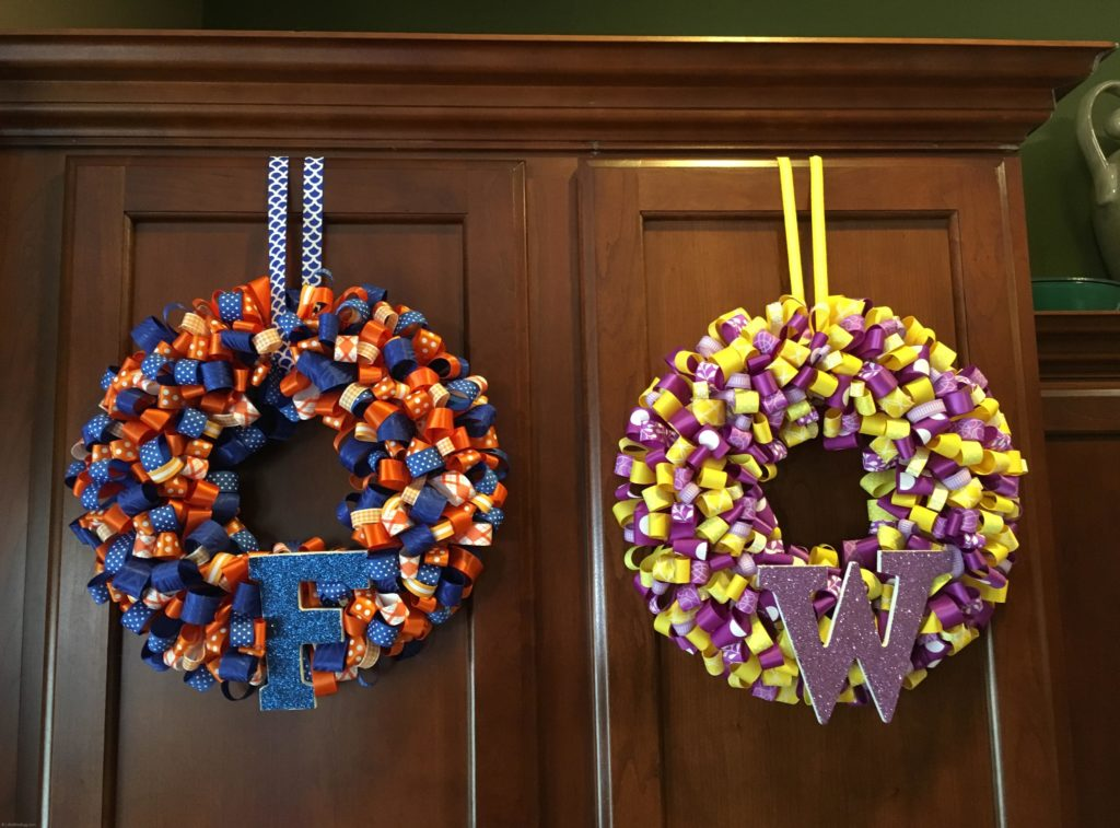 College Colors Ribbon Wreaths - LittleBlueEgg.com